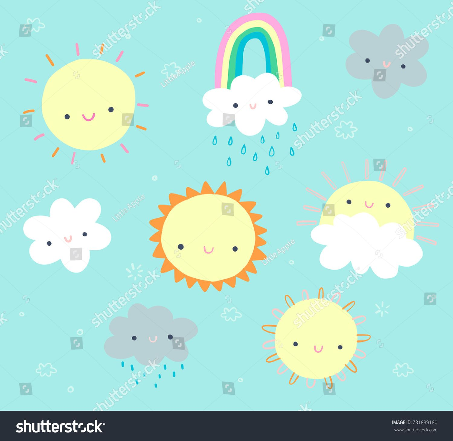 Cute Daytime Clip Art Set With Sun Clouds And A Rainbow Ad Spon Clip Art Cute Daytime Clip Art Art Set Art