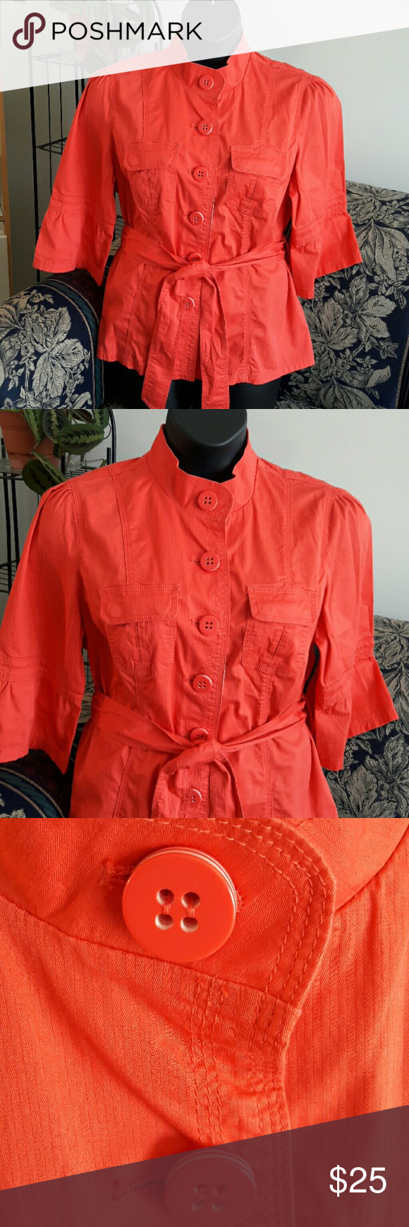 🍊LANE BRYANT BELL SLEEVE JACKET NWOT,  pumpkin colored jacket w/waist tie belt (color in photo is darker than actual garment). Lane Bryant Jackets & Coats