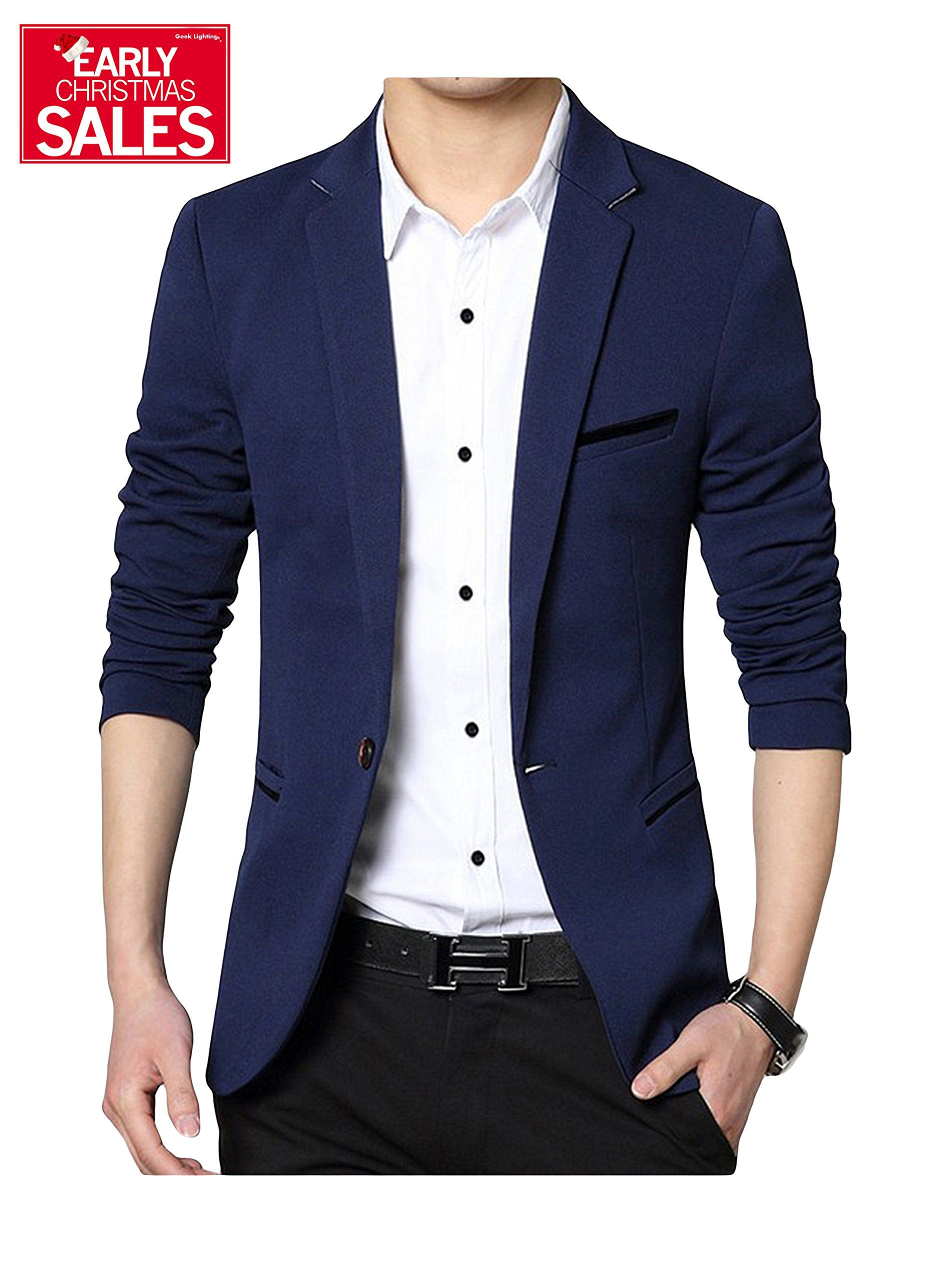 c4e23c476d8 Men s Slim Fit Casual One Button Formal Suit Blazer Coat Jacket Navy US  X-Small