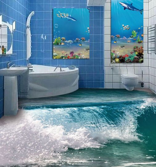 Best 3D Lush Waterfall Floor Wallpaper Murals Wall Print Decal 400 x 300