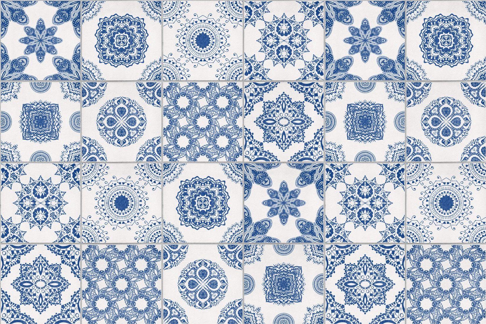 white blue portuguese tile wallpaper