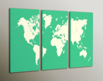 Modern World Map Canvas. Modern World wall map canvas  Custom colours Large home decor Ready to hang on