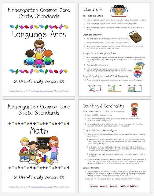Kindergarten Common Core Standards For Parents Freebie