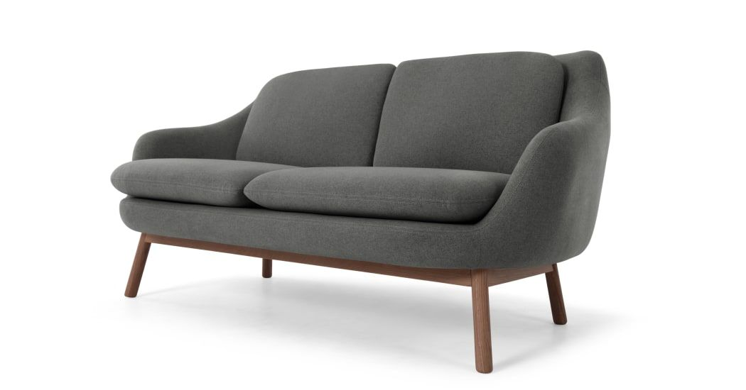 Oslo Canape 2 Places Gris Marne Et Pieds En Chene Teinte 2 Seater Sofa Seater Sofa Scandinavian Sofas