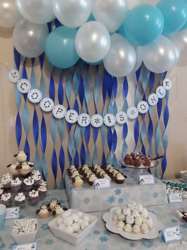 boys winter wonderland themed birthday party food dessert table