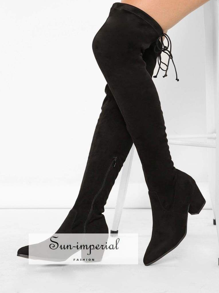 12da3006e13 Pointy Toe Chunky Low Heel Thigh High Boots in 2019 | Boots | Boots ...