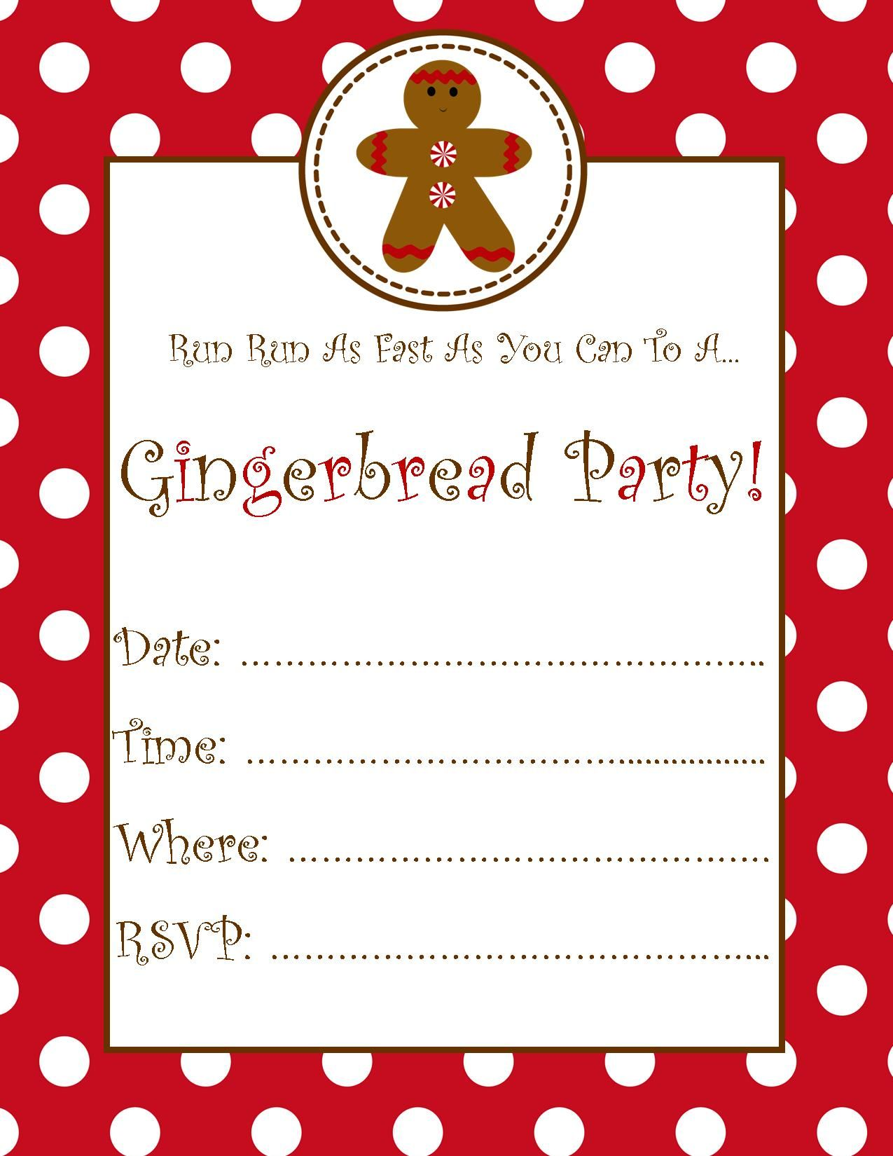 Free Printable Gingerbread Party Invitation