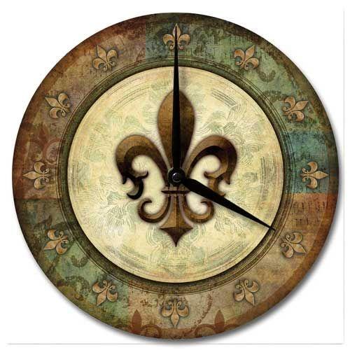 Fleur De Lis Wall Clock Wood Wall Clock Wood Decor Decor