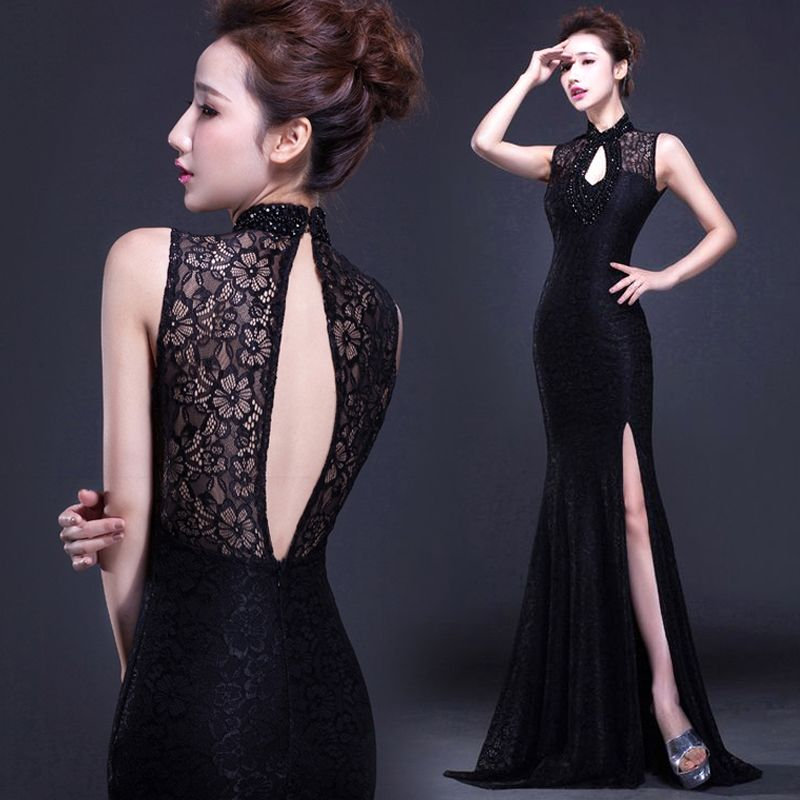 Black Floral Lace Sleeveless Stand Up Collar Prom Dress Beaded Top
