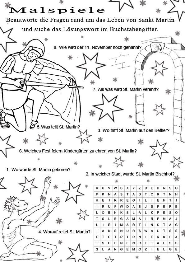 Ratsel Um Das Leben Von Sankt Martin Ratselspiele Fur Kinder Sankt St Martin Ausmalbild