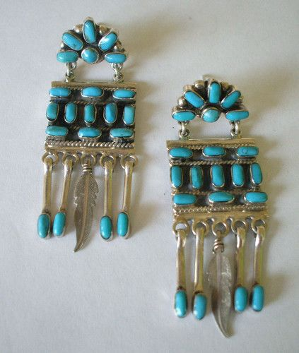 Vintage Taxco Mexico Sterling Silver Turquoise Petit Point Chandelier Earrings | eBay