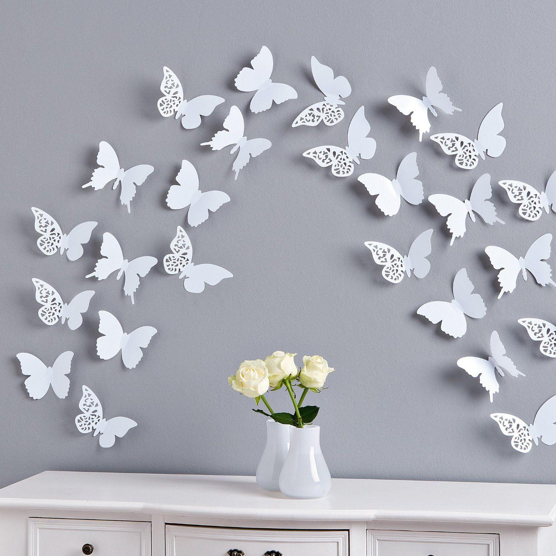 Wanddeko Schmetterlings Set Ornament 12 Tlg Weiss Amazon De Kuche Haushalt Rosa Weihnachtsschmuck Dekoration Schmetterlingswanddekor