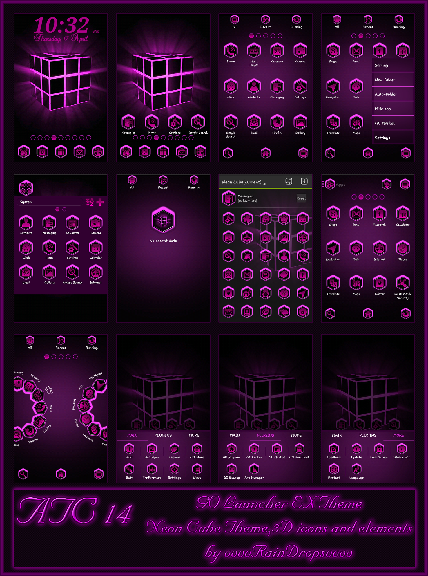 Google themes mobile9 - Purple Neon Lights Rubik S Cube Go Launcher Ex Themes Mobile9