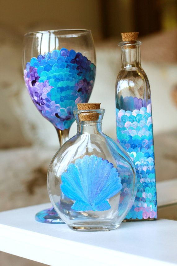 Nautical bottle decorations mermaid fin and scallop shell