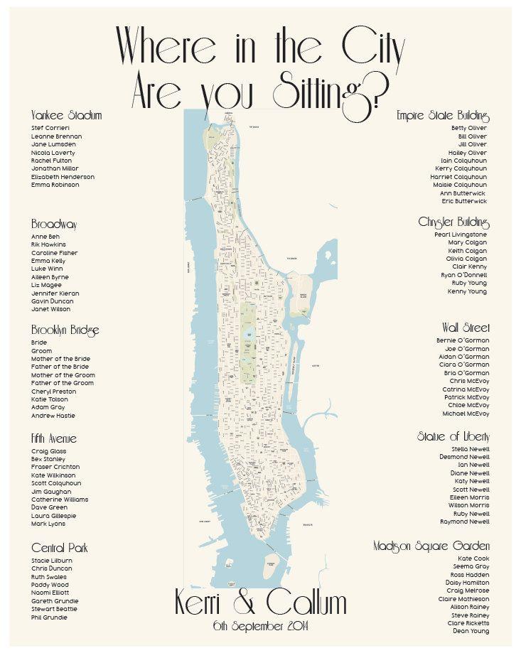 Karte Manhattan Pdf.Manhattan Map Seating Chart Nyc Digital Design Printable Pdf