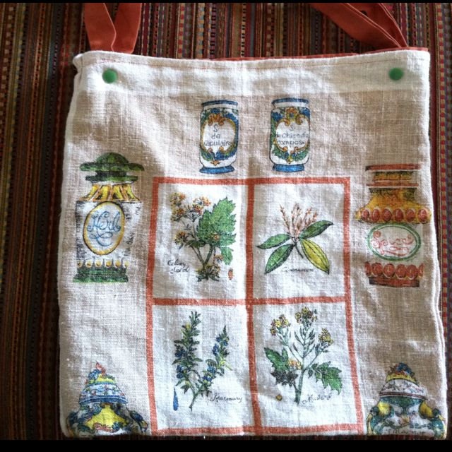 1960's dish towel bag with changeable straps to attach to walker or chair. Made for Grandma's 91st birthday, she used it every day!