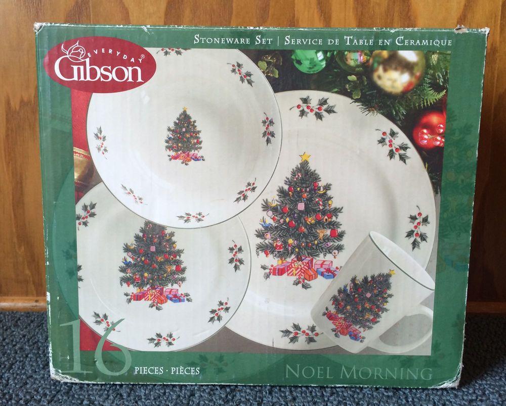 GIBSON Christmas Tree NOEL MORNING DINNERWARE 16 PC SET Plates Bowl ...