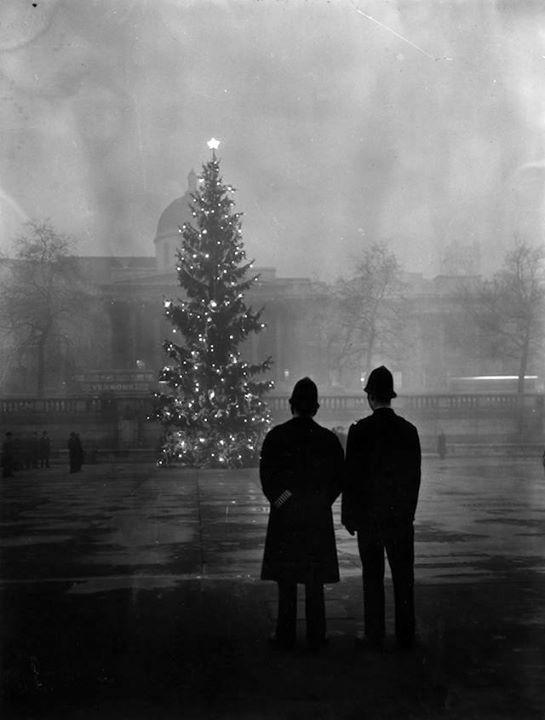 Due poliziotti guardano l'albero di Natale regalato dalla Norvegia a Trafalgar Square 1 dicembre 1948. (Warburton/Topical Press Agency/Getty Images)