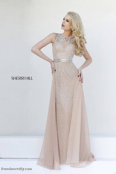 Sherri Hill 11289 Beaded Evening Dress- Floor length beaded evening dress with elaborately beaded back design.