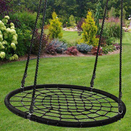Zeny 48 Round Durable Tree Web Swing Net Platform Pe Rope Kids Play Set Patio Yard