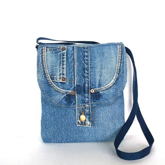 Recycled cross body bag blue jean messenger bag Travel purse