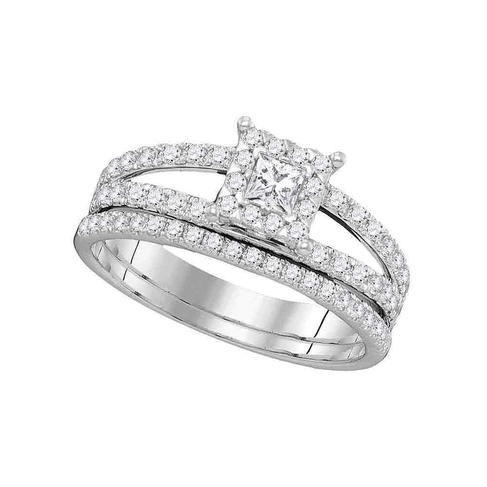 14kt White Gold Women S Diamond Princess Bridal Wedding Engagement