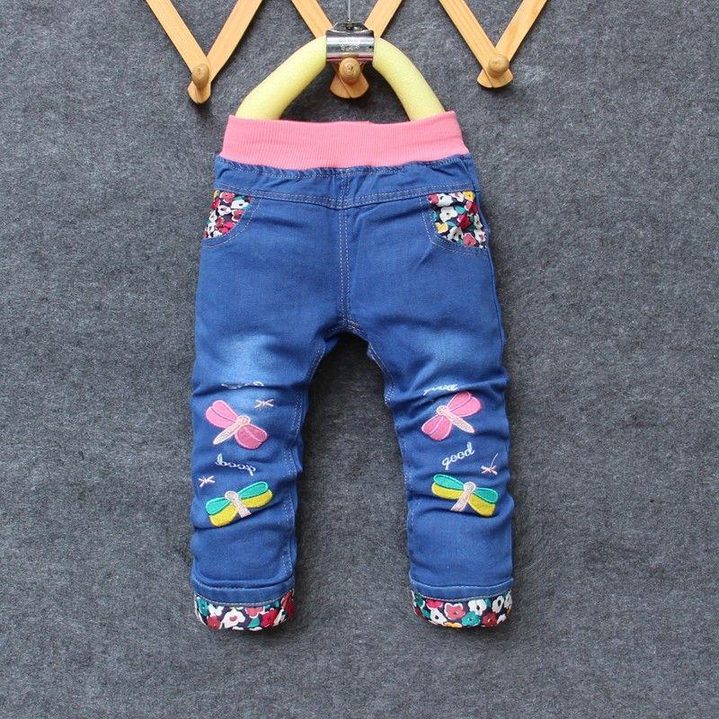 d79a72a318 Cheap BibiCola bebé pantalones vaqueros niñas pantalones lindos pantalones  de mezclilla de moda para niñas otoño