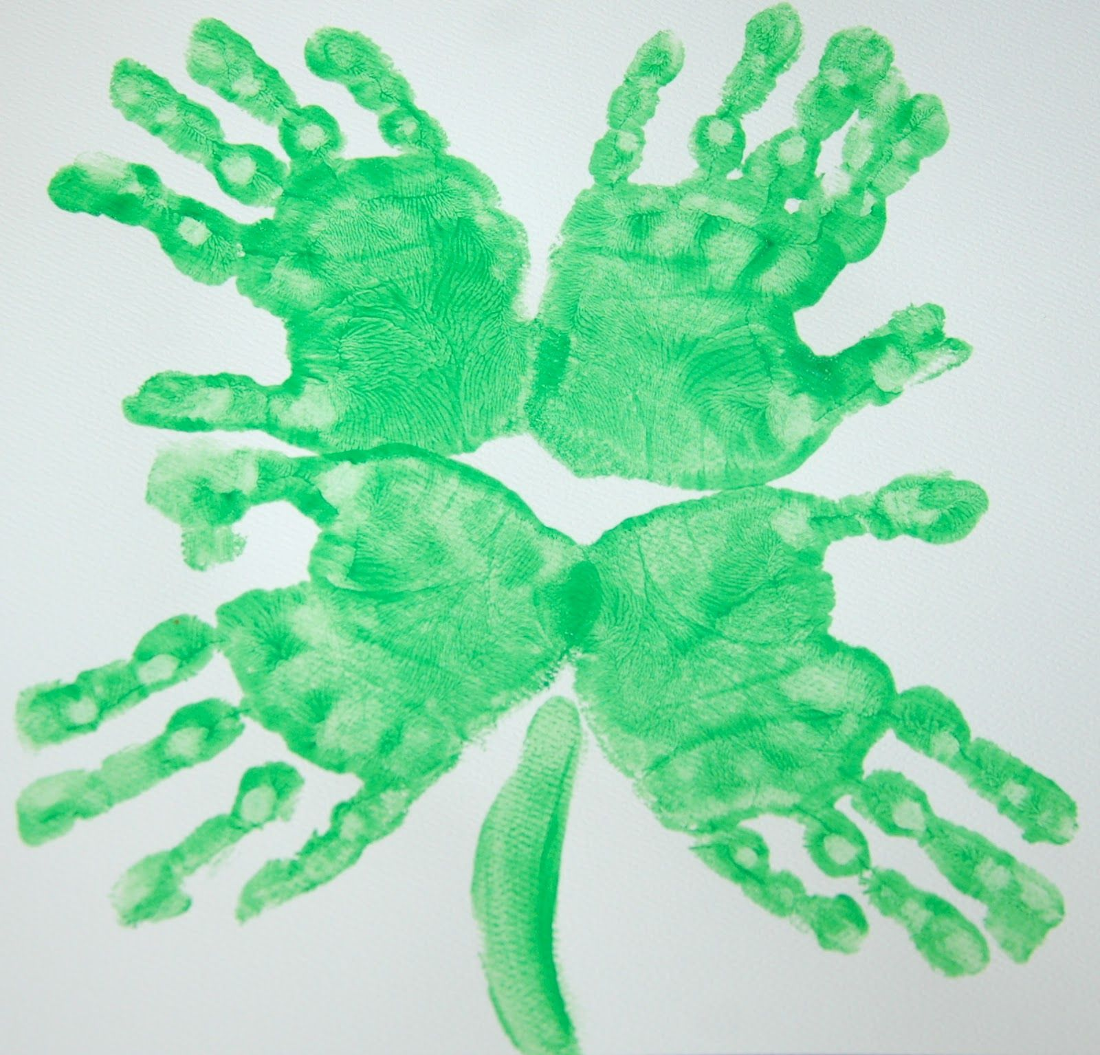 St Patrick S Day Four Leaf Clover Hand Print Art