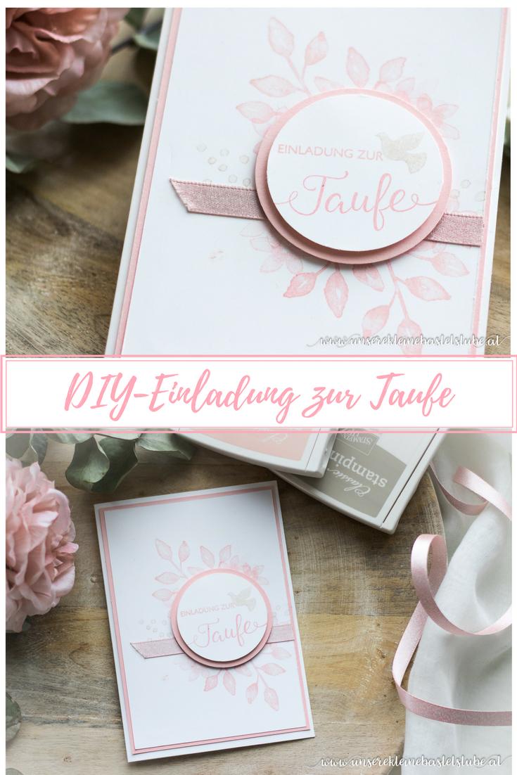 DIY   Einladung Zur Taufe Mit Stampin Up Stempelsets Segensfeste Und  Blütentraum Für Mädchen In Rosa
