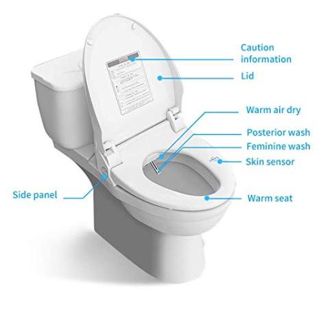 ZMJH Electronic Bidet Toilet Seat with Warm Water Air
