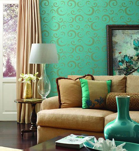 23 Turquoise Room Ideas For Newer Look Of Your House  Turquoise Mesmerizing Wallpaper Living Room Ideas For Decorating Design Inspiration