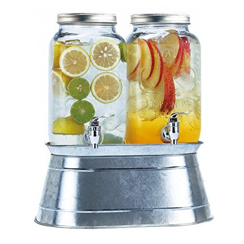 Two Large Glass Mason Jars Each With Capacity Of 3 5 Liters 925 Gallons Spigot Made Of Hea Mason Jar Drinks Mason Jar Drink Dispenser Jar Drink Dispenser