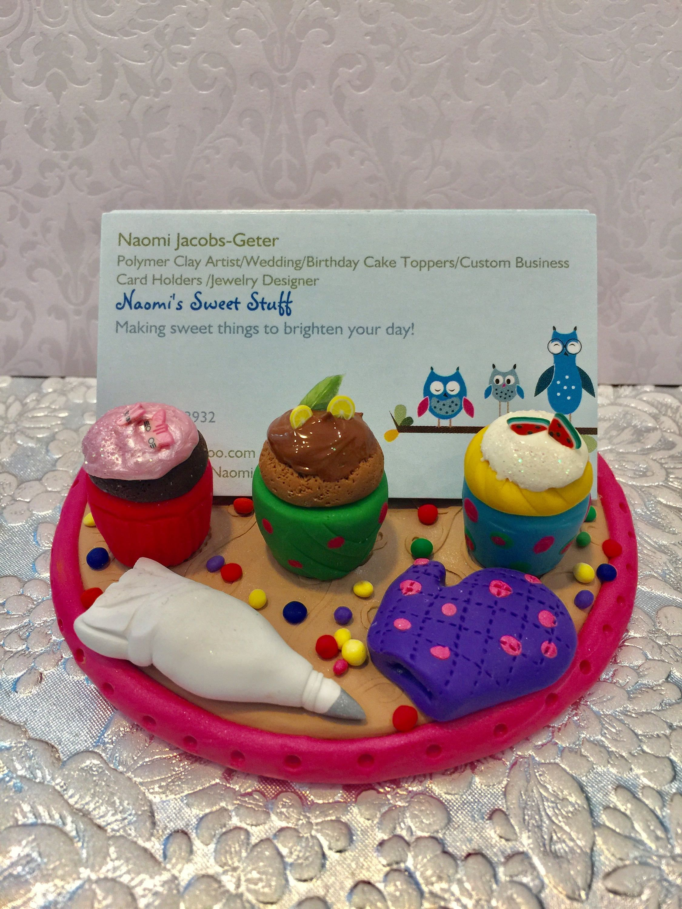 Polymer clay cupcake Business card holder,sweets,cake pop,chocolate ...