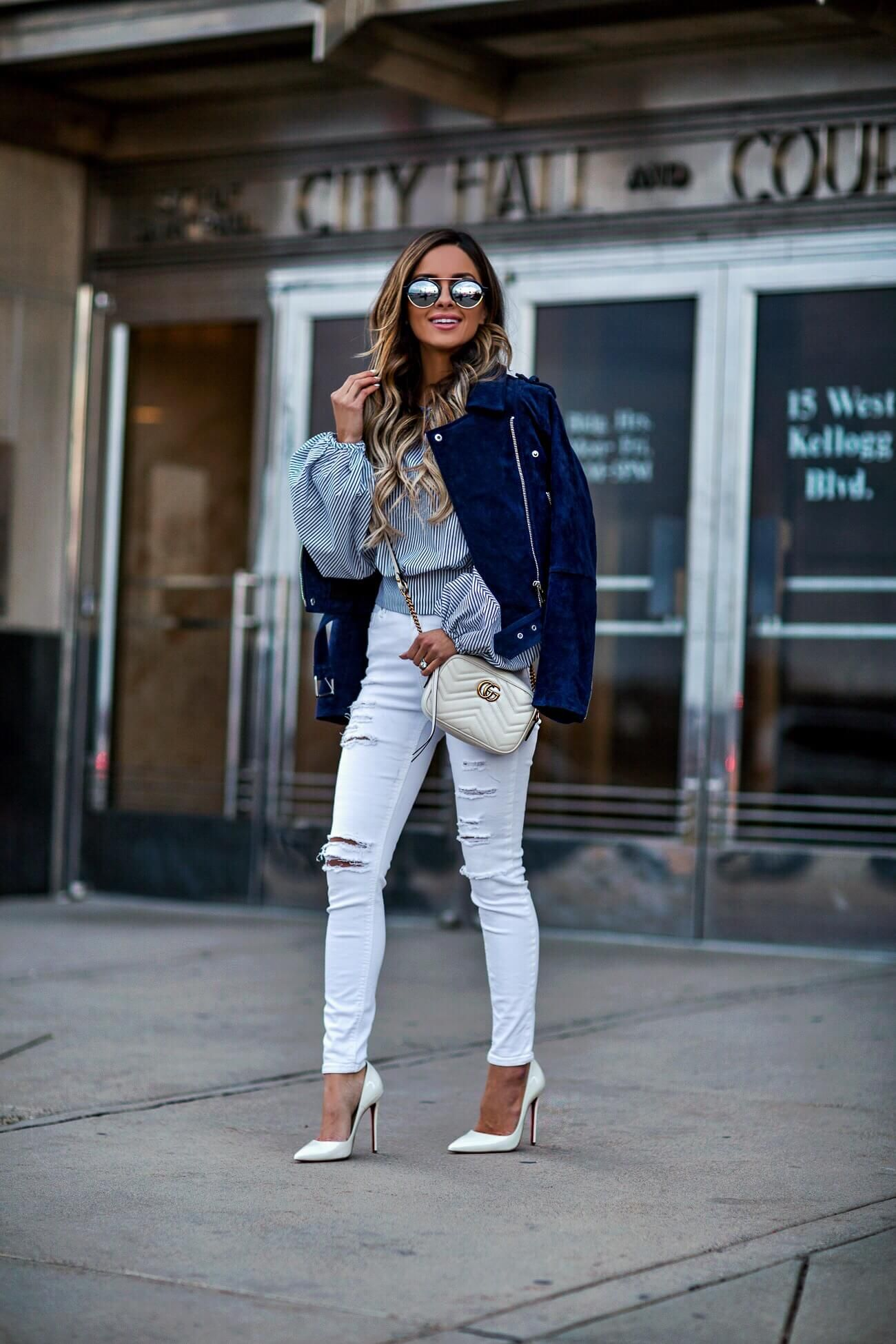f38398140200 fashion blogger mia mia mine wearing a blanknyc suede jacket and white  topshop jeans from nordstrom