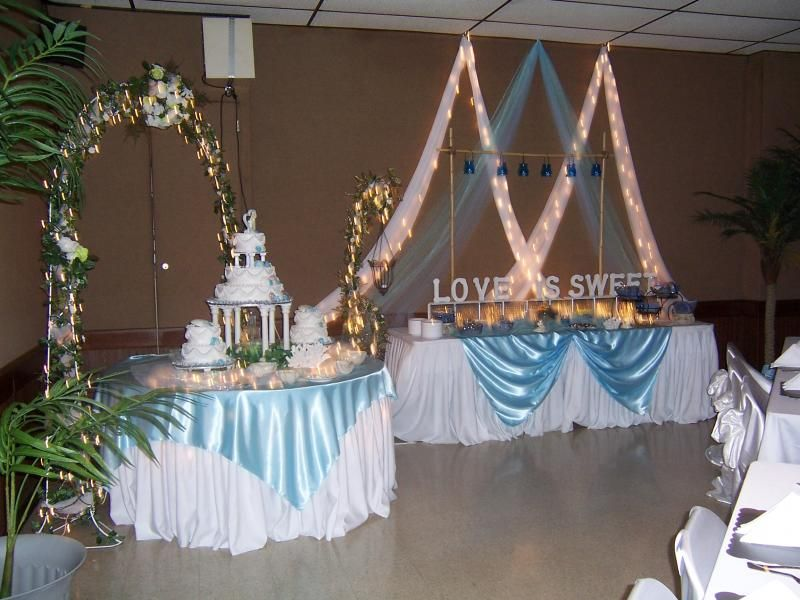 Pictured Above Is The Cake Table And Candy Buffet For An Elegant Beach  Theme Wedding.