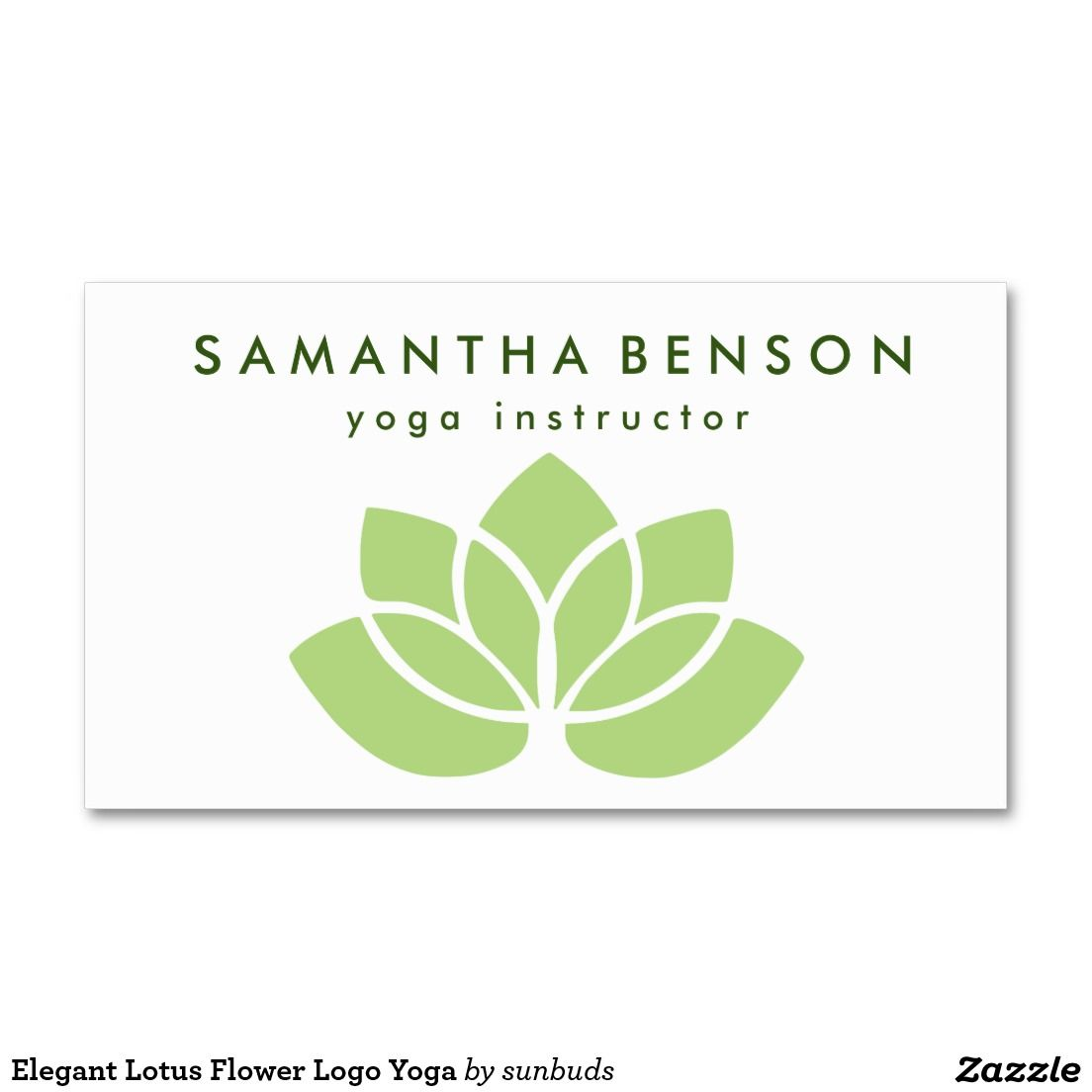 Elegant Lotus Flower Logo Yoga Double-Sided Standard Business ...