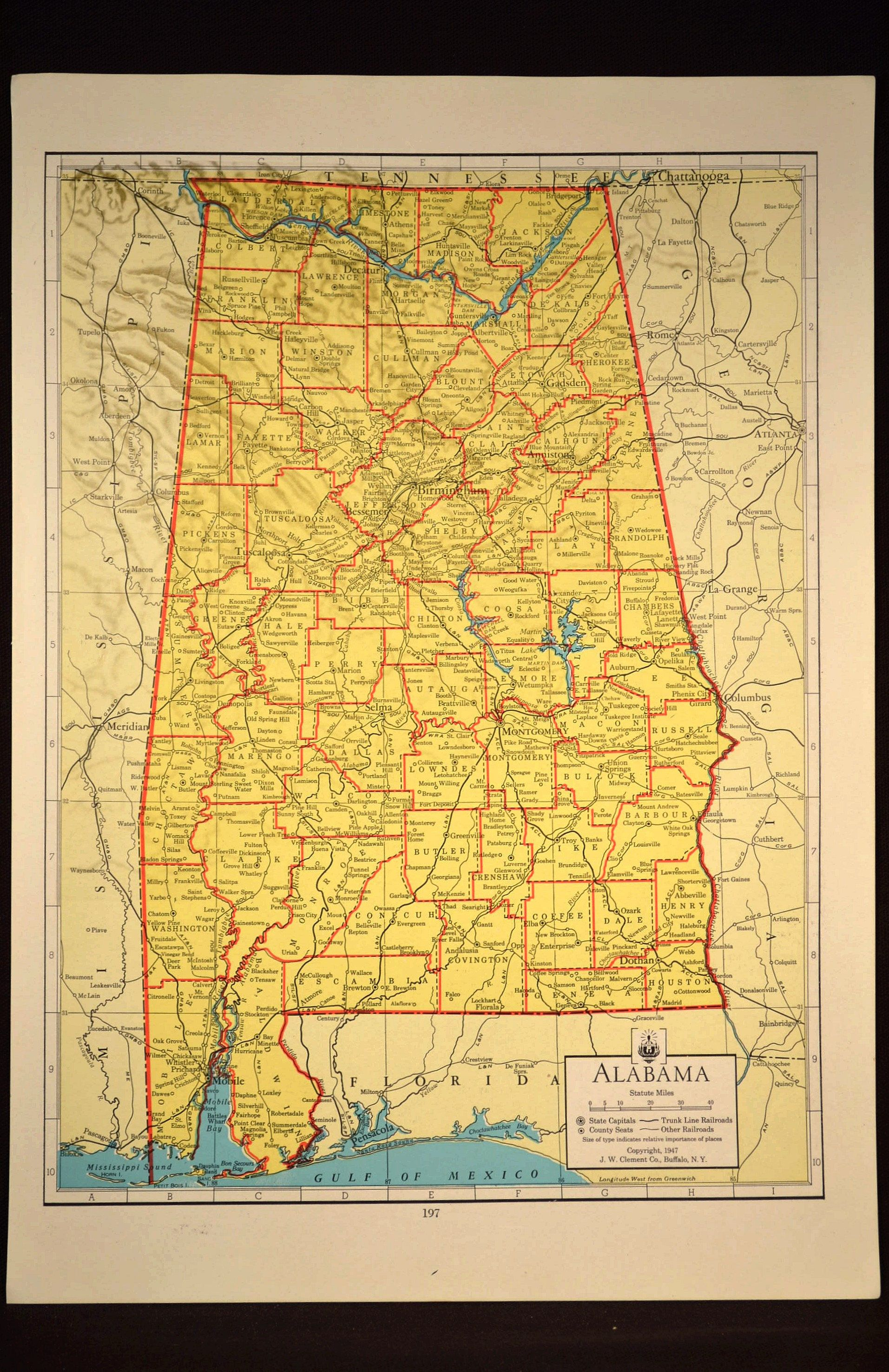 Colorful Yellow Vintage Alabama Map Alabama Wall Art Colored | Map ...