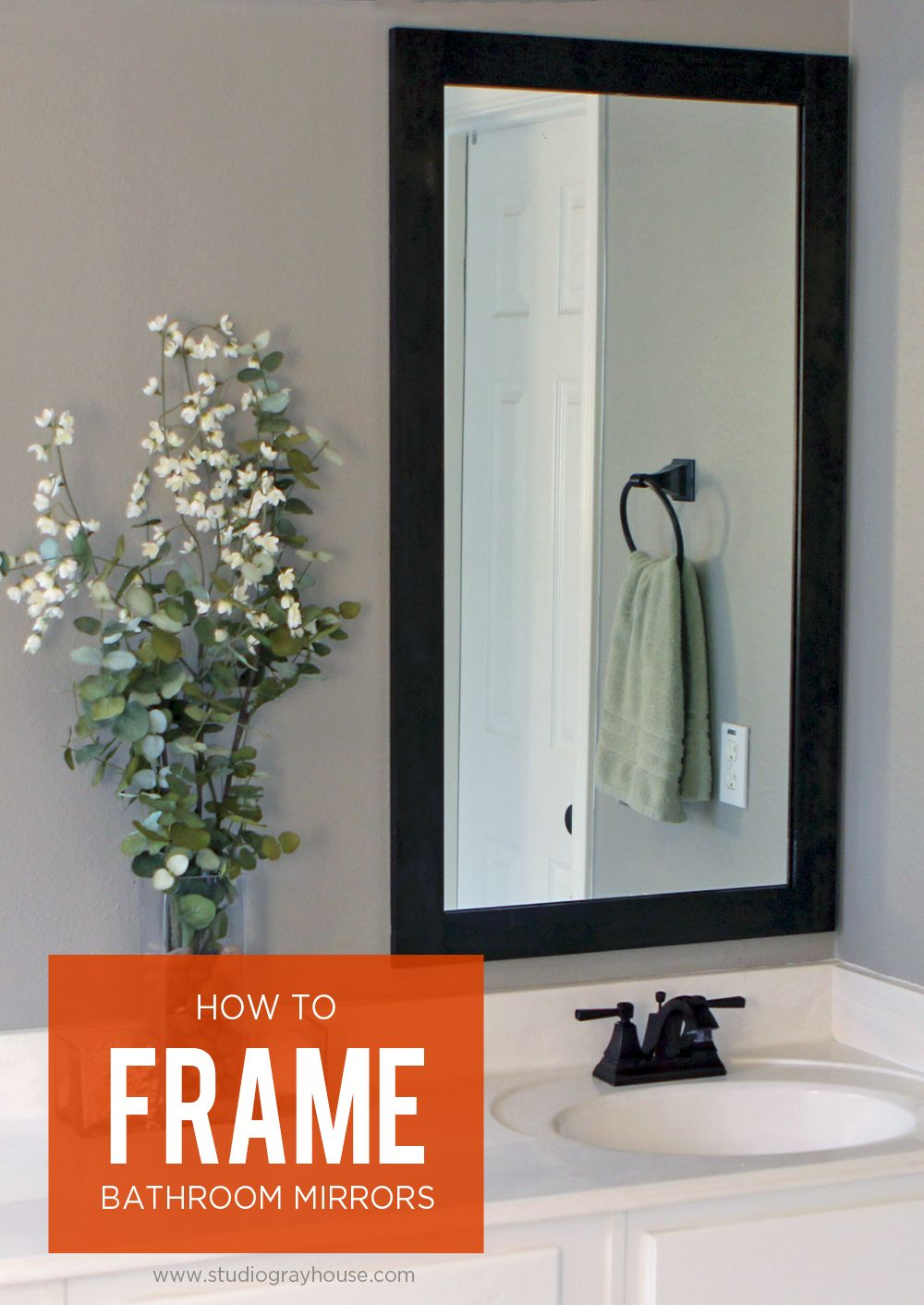 How to Frame Bathroom Mirrors | OGT Blogger Friends | Pinterest ...