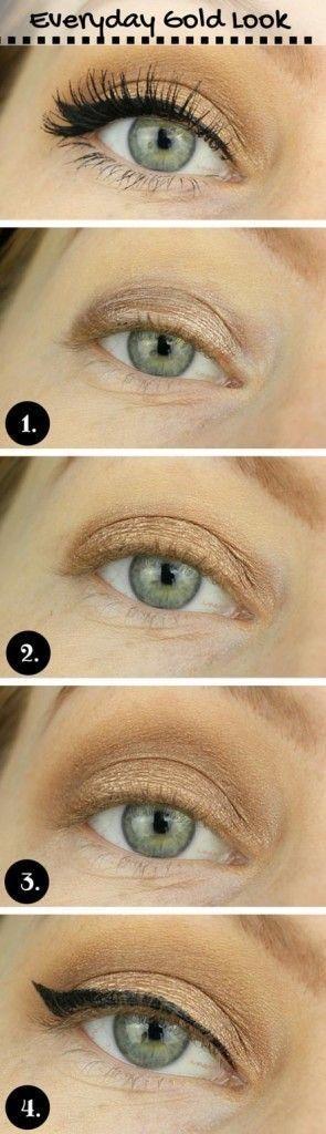 Einfache alltägliche Gold Look für blaue Augen – # Alltag # Augen #Blau …   …