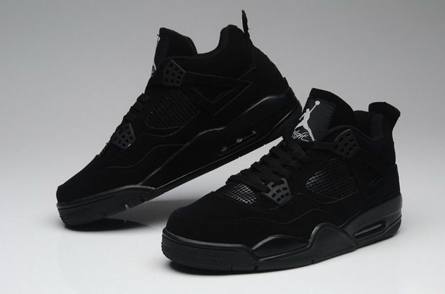 73b836e966fa4 Nike Air Jordan 4 IV Retro Mens Shoes Black   Black   Light Graphite ...