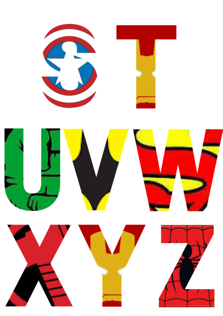 graphic relating to Superhero Letters Printable named No cost Printable Superhero Alphabet Letters Ponder
