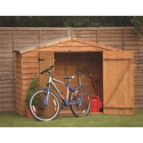 7 x 3 rock select overlap bike shed double doors 7ft x 3ft 213m x 085m - Garden Sheds 7 X 3