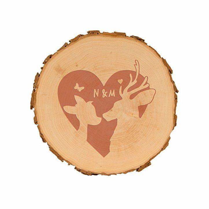 Baumscheibe mit Gravur - Rehe mit Herz (15,5-18cm) - Holzscheibe mit ...