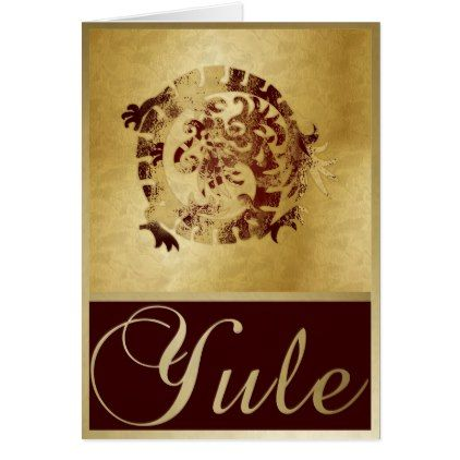 Gold Red Dragon & Frames - Yule Greeting Card - red gifts color ...