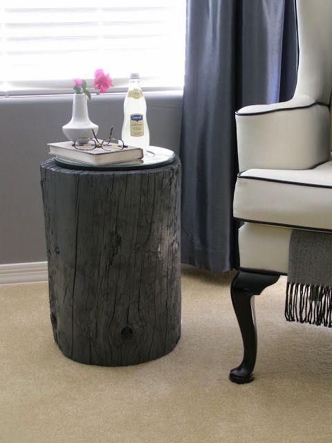 Side Table Made Of A Tree Stump Painted And Topped With A Mirror Lovely Affordable And Rustic Tree Stump Side Table Wood Stumps Make A Table