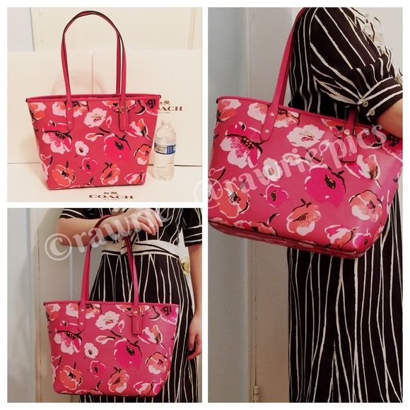 103f0485f801 New Coach pink wildflower floral city zip tote 100% authentic. Pink  multicolor floral coated