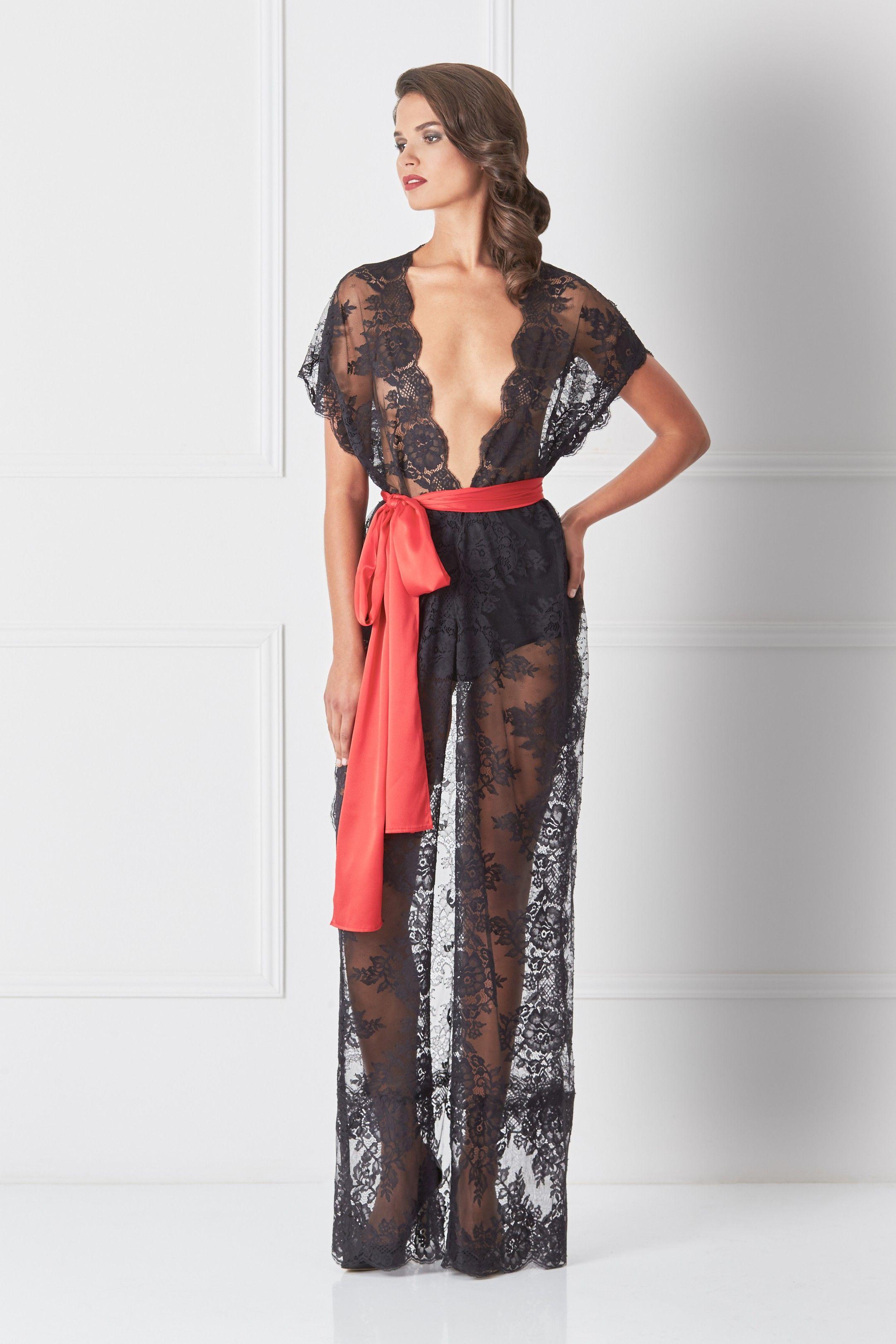 Black Lace MAXI ROBE с поклоном | LONG Nightgown | Pinterest ...