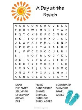 summer word search a day at the beach 英語 演習 pinterest