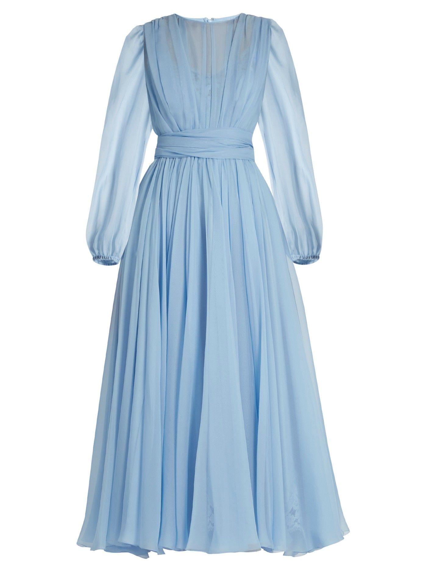 Fashion week Silk blue chiffon dress for lady