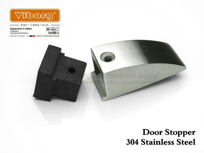 Viborg Deluxe Sus304 Stainless Steel Casting Rubber Floor Mounted Door Stopper Door Stops Doorstops R Stainless Steel Casting Rubber Flooring Door Stopper